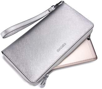 Contacts Women Leather Long Wallet Phone Purse Checkbook Clutch