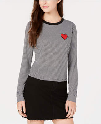 Carbon Copy Heart-Embellished Striped Top