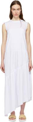 Cédric Charlier White Ruffle Asymmetric Dress