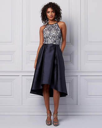Le Château Embroidered Lace & Sequin High-Low Dress