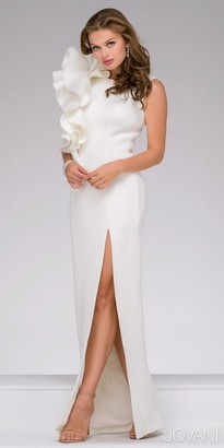 Jovani Sleeveless High Slit Ruffle Evening Gown $640 thestylecure.com
