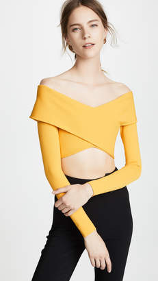Cushnie Off Shoulder Long Sleeve Crop Top