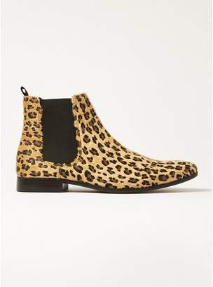 Topman Mens Brown Tan Leopard Fisco Chelsea Boots