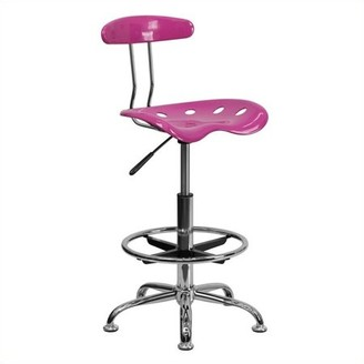 Flash Furniture Adjustable Height Drafting Stool with Tractor Seat, Candy Heart