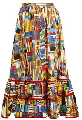 Stella Jean - Ikat Print Ruffled Hem Cotton Blend Midi Skirt - Womens - Multi