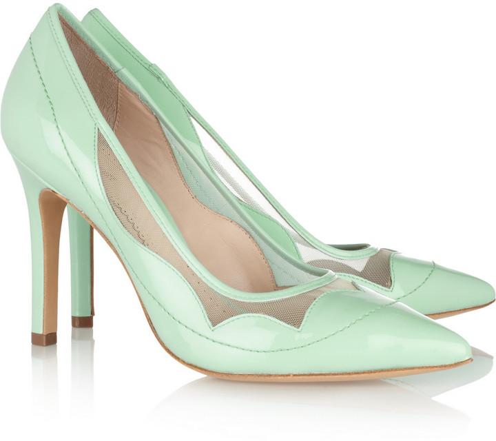 Pour La Victoire Chantel patent-leather and mesh pumps