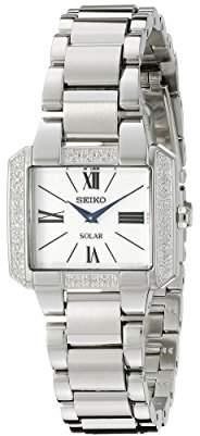 "Seiko Women's SUP237""Tressia"" Diamond-Accented Stainless Steel Solar Watch"