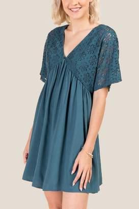 francesca's Lyric Kimono Sleeve Shift Dress - Dark Teal
