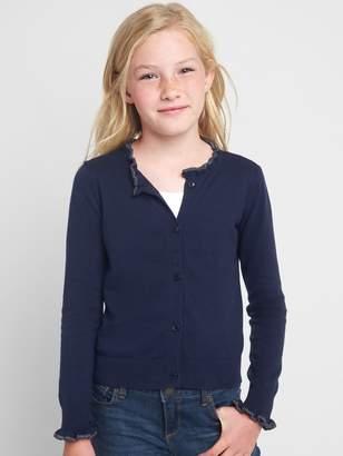 Gap Ruffle Button Cardigan Sweater