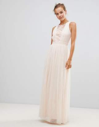 Little Mistress Chiffon Maxi Dress With Lace Insert