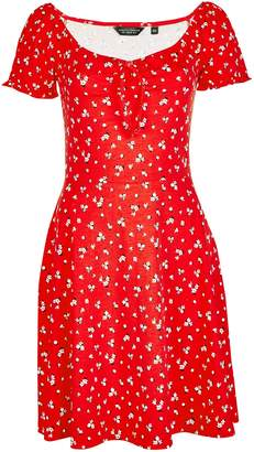 116301e4386 Dorothy Perkins Womens Red Ditsy Print Scoop Neck Skater Dress