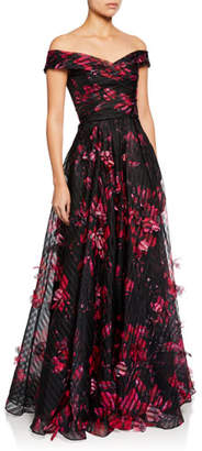 Marchesa Off-the-Shoulder Floral-Printed Striped Organza Gown w/ 3D Flowers