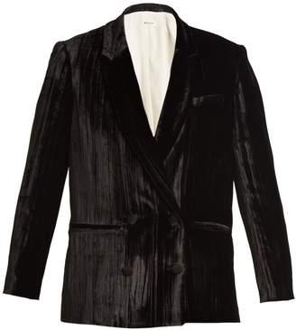 Masscob Double-breasted crinkle-velvet blazer