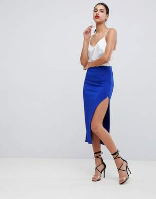 Asos DESIGN scuba midi skirt with thigh split