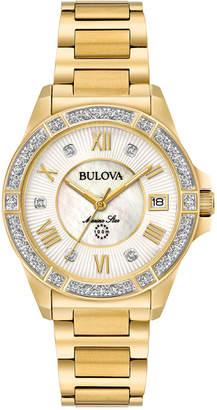 Bulova Women Marine Star Diamond Accent Gold-Tone Stainless Steel Bracelet Watch 32mm 98R235