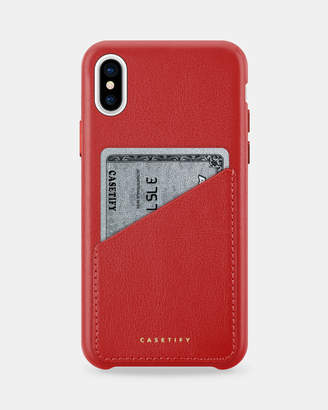 Red Genuine Leather Card Case for iPhone X