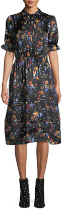 ADAM by Adam Lippes Tie-Neck Ruched Sleeve & Waist Floral-Print Silk Dress w/ Tiered Hem