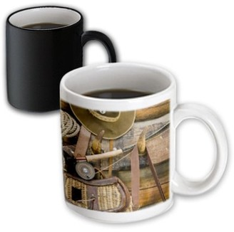 3dRose Montana. Fishing gear and hat, log cabin - US27 BJA0046 - Jaynes Gallery, Magic Transforming Mug, 11oz