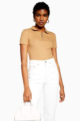 Topshop Womens Camel Short Sleeve Zip Polo - Camel