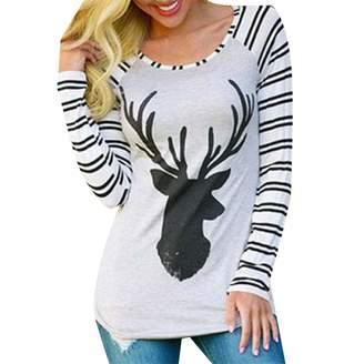 b36a728ac48635 Zimase Women Long-Sleeve Knitted Striped Raglan Christmas T-Shirt Top L