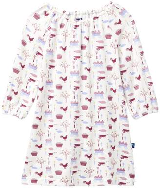 Kickee Pants Print Long Sleeve Peasant Dress in Natural Farm (Baby, Toddler, & Little Girls)