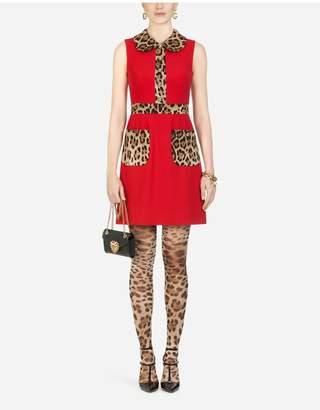 Dolce & Gabbana Short Cady Dress With Leopard-Print Details