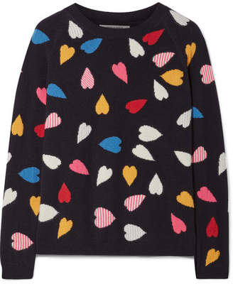 Chinti and Parker Confetti Heart Printed Cashmere Sweater - Navy