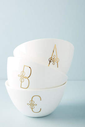 Anthropologie Lenox for Scripted Monogram Bowl