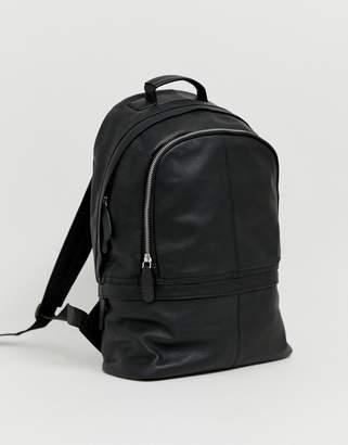 Asos Design DESIGN leather harvard backpack