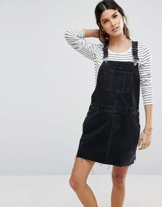 ASOS Denim Overall Dress in Washed Black $53 thestylecure.com
