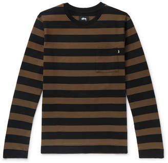 Stussy Malcolm Striped Cotton-Jersey T-Shirt
