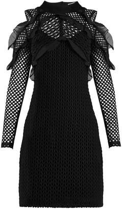 SELF-PORTRAIT Purl knit lace cut-out shoulder dress $475 thestylecure.com
