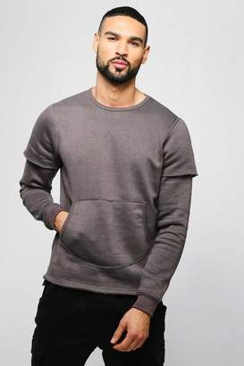 BoohooMAN Faux Layer Step Hem Sweater With Side Zips