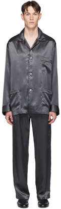 Brioni Grey Embroidered Pocket Pyjama Set