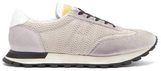 Maison Margiela Low Top Mesh And Suede Trainers - Mens - Grey Multi