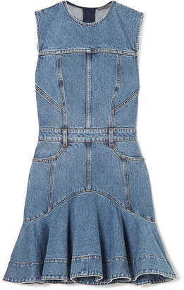 Alexander McQueen Striped Grosgrain-trimmed Denim Mini Dress