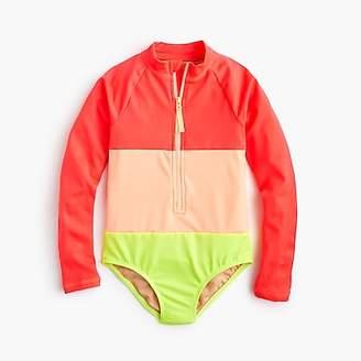 J.Crew Girls' long-sleeve one-piece swimsuit in neon colorblock