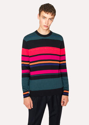 Paul Smith Men's Stripe And Embroidery Crew Neck Sweater