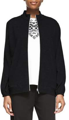 Joan Vass Mock-Neck Zip-Front Jacket