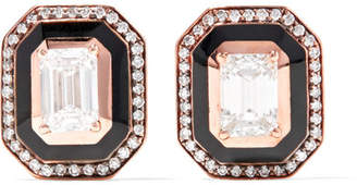 Selim Mouzannar - Mina 18-karat Rose Gold, Enamel And Diamond Earrings