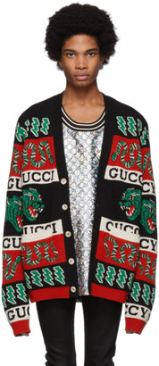 Gucci Black and Multicolor Jacquard Symbols Cardigan