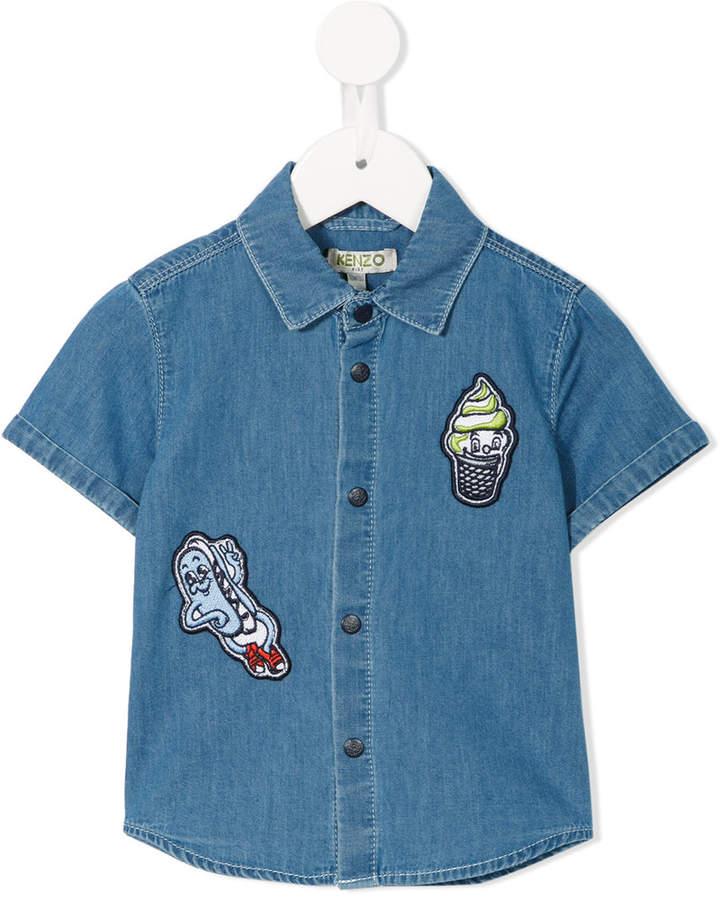 patch embellished denim shirt