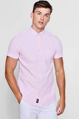 boohoo Linen Cotton Blend Short Sleeve Shirt