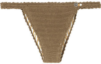She Made Me Lalita Crocheted Cotton Bikini Briefs - Army green