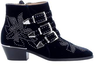 Chloé Chloe' Blue Lagoon Velvet Ankle Boots