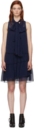 See by Chloe Navy Front Neck Tie Dress