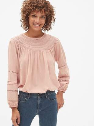 Gap Smocked Lace-Trim Peasant Blouse