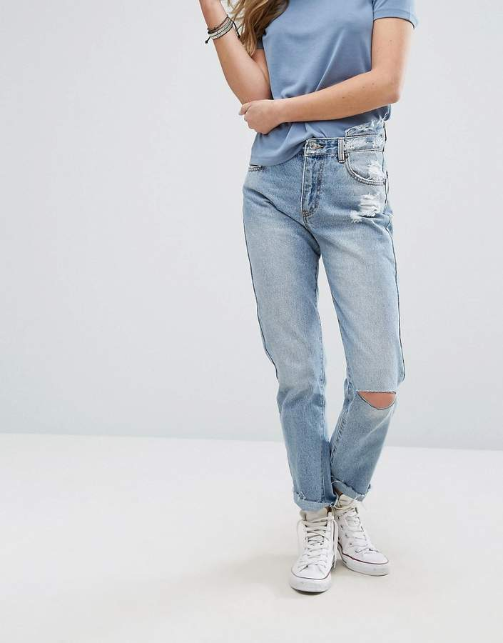 Pull&Bear Ripped Knee Mom Jeans