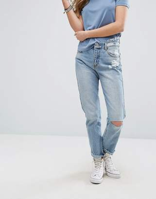 Pull&Bear Ripped Knee Mom Jeans $46 thestylecure.com