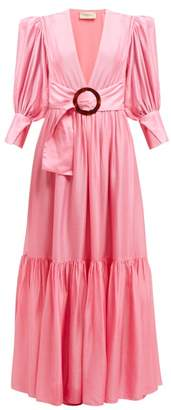 Adriana Degreas Gigot Sleeved Belted Dress - Womens - Pink